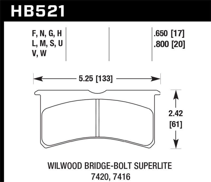 Hawk DTC-80 Wilwood BB SL 7420 20mm Race Brake Pads