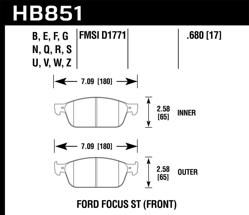 Hawk 15-16 Ford Focus ST Performance Ceramic Street Brake Pads