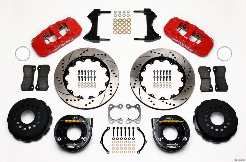 Wilwood AERO4 Rear P-Brake Kit 14.00in Drilled Red Small Ford 2.50in Offset