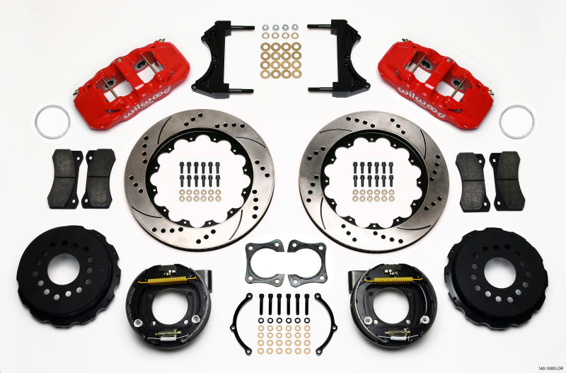 Wilwood AERO4 Rear P-Brake Kit 14.00in Drill Red 58-64 Olds/Pontiac Ends 2.81in Offset