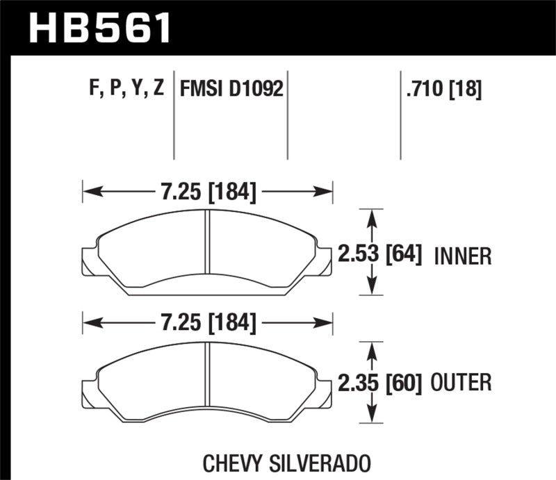 Hawk 07-08 Escalade 6.2 / 07-08 Avalanche Super Duty Front Brake Pads