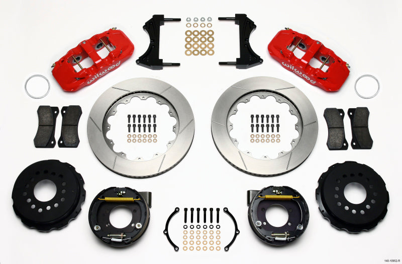 Wilwood AERO4 Rear P-Brake Kit 14.00in Red Ford 8.8 w/2.5in Offset-5 Lug