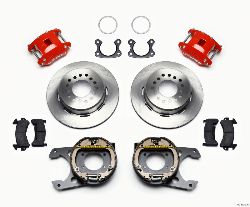 Wilwood D154 P/S Park Brake Kit Red Small Ford 2.50in Offset