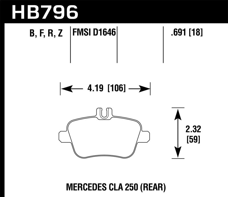 Hawk 14-17 Mercedes-Benz CLA 250 Performance Ceramic Street Rear Brake Pads