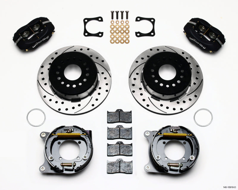 Wilwood Forged Dynalite P/S Park Brake Kit Drilled Chevy 12 Bolt-Spec 3.15in Brng Stggrd mt