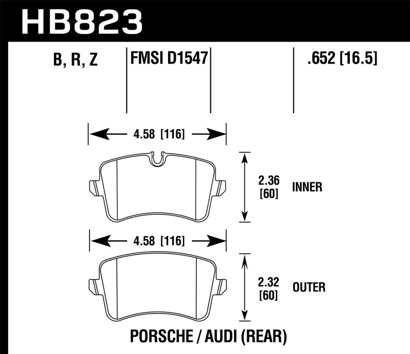 Hawk 13-17 Audi S6/S7/S8 / 12-17 Audi A6 Quattro/A7 Quattro Performance Ceramic Rear Brake Pads