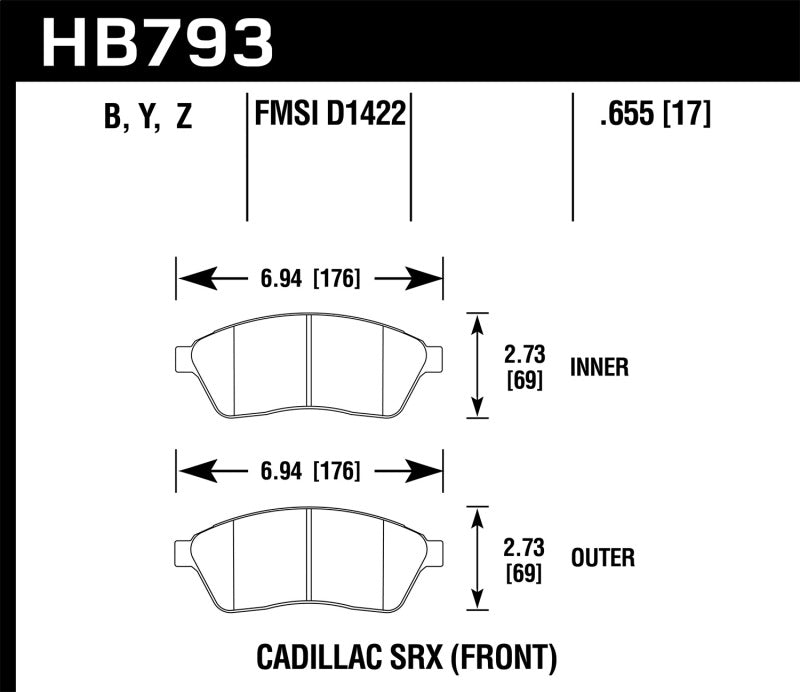 Hawk 10-16 Cadillac SRX Performance Ceramic Street Front Brake Pads