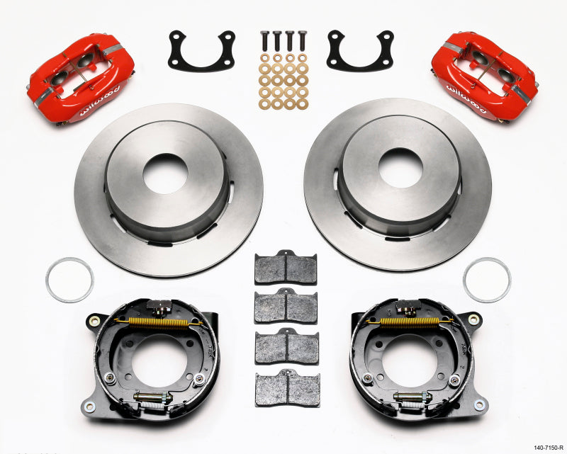 Wilwood Forged Dynalite P/S Park Brake Kit Red Big Ford New 2.50in Offset Currie Blank