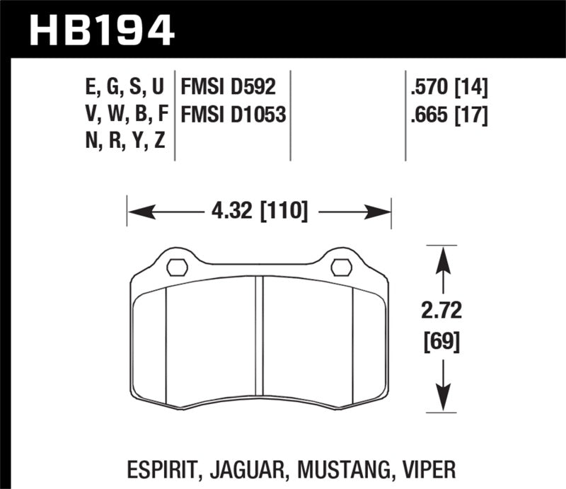 Hawk 2010 Camaro SS HT-14 Race Rear Brake Pads