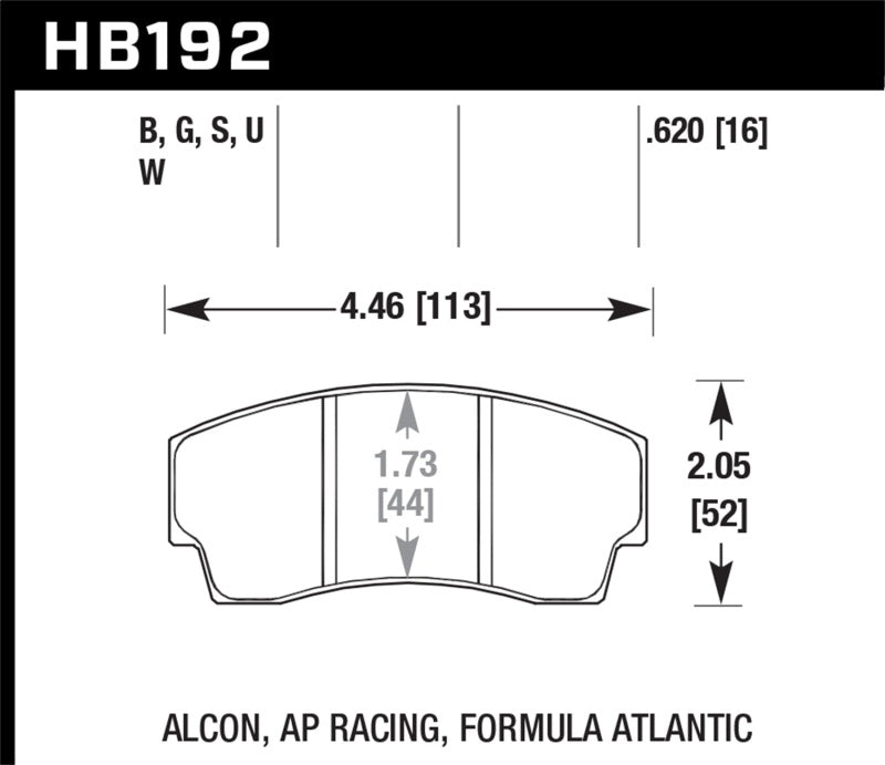 Hawk DTC-80 AP Racing/Alcon 16mm Race Brake Pads