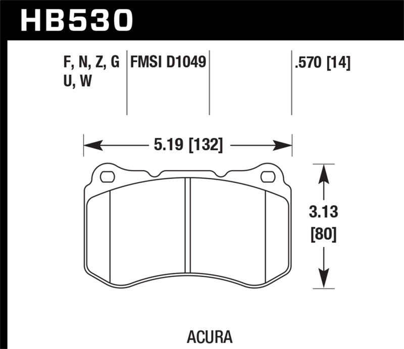 Hawk 07-08 Acura TL Type S Performance Ceramic Street Front Brake Pads