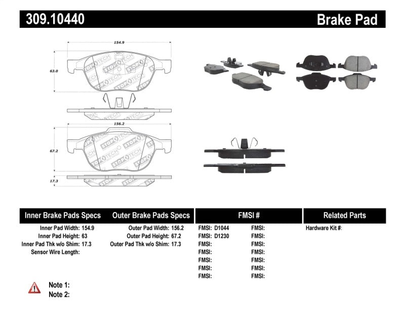 StopTech Performance 04-09 Mazda 3 Front Brake Pads