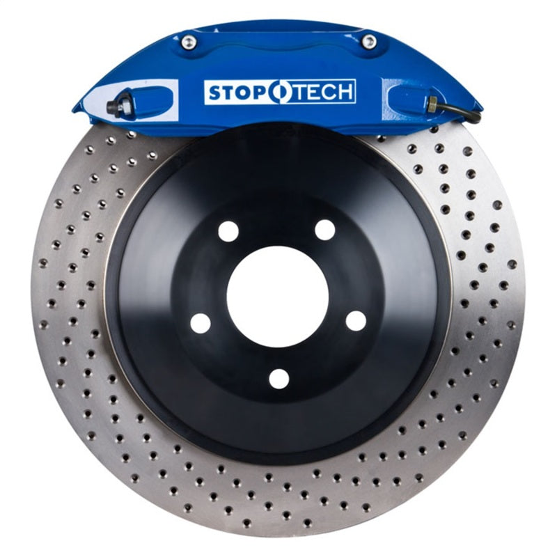StopTech 05-14 Ford Mustang ST-40 Blue Calipers 355x32mm Drilled Rotors Front Big Brake Kit