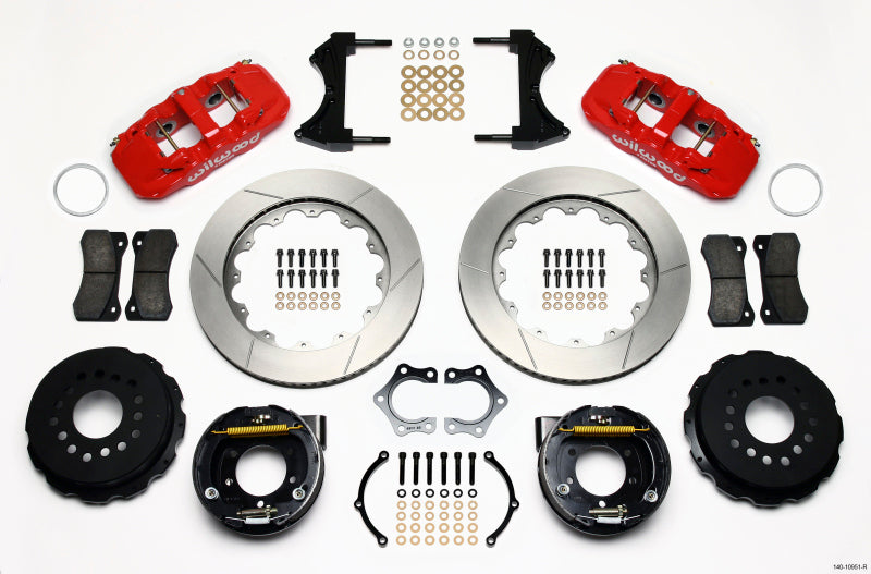 Wilwood AERO4 Rear P-Brake Kit 14.00in Red Mopar/Dana 2.36in Off w/Snap Ring Brng
