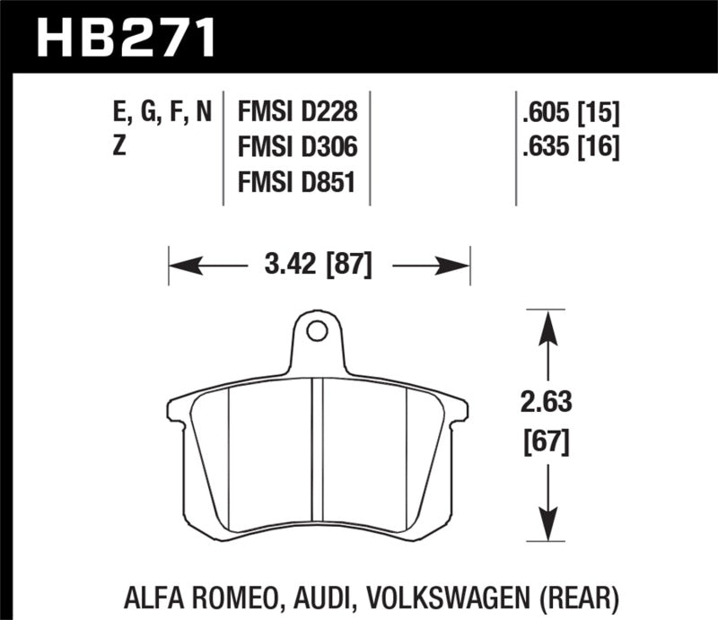Hawk 90-91 Audi Coupe Quattro / 93-95 Audi 90 HPS Rear Brake Pads
