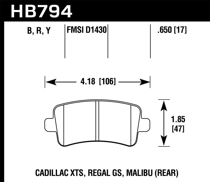 Hawk 13-15 Cadillac XTS Performance Ceramic Street Rear Brake Pads