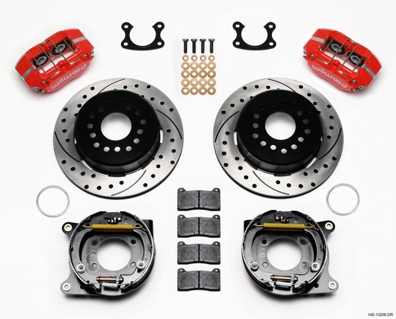 Wilwood Dynapro Dust-Boot P/S Park Brake Kit Drilled Red Small Ford 2.50in Offset