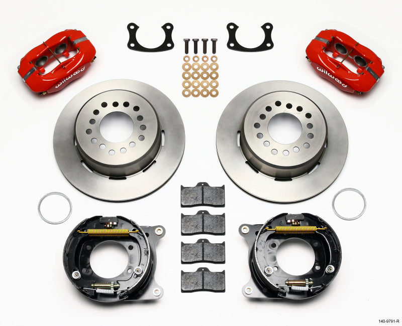 Wilwood Forged Dynalite P/S Park Brake Kit Red New Big Ford 2.50in Offset Front Caliper Mount