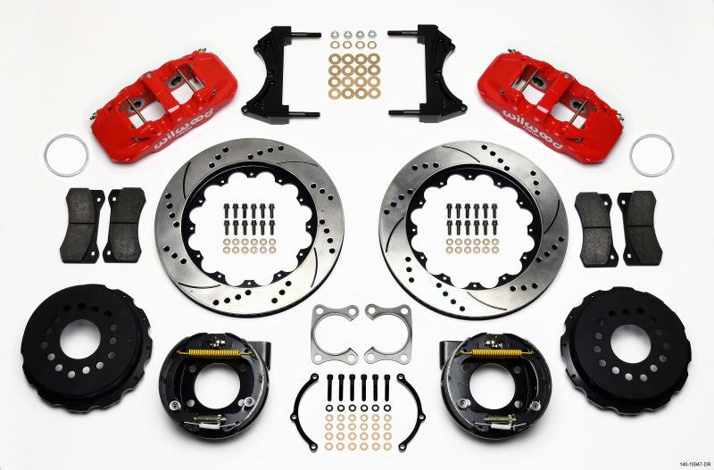 Wilwood AERO4 Rear P-Brake Kit 14.00in Drilled Red Big Ford Old Style 2.36in Offset