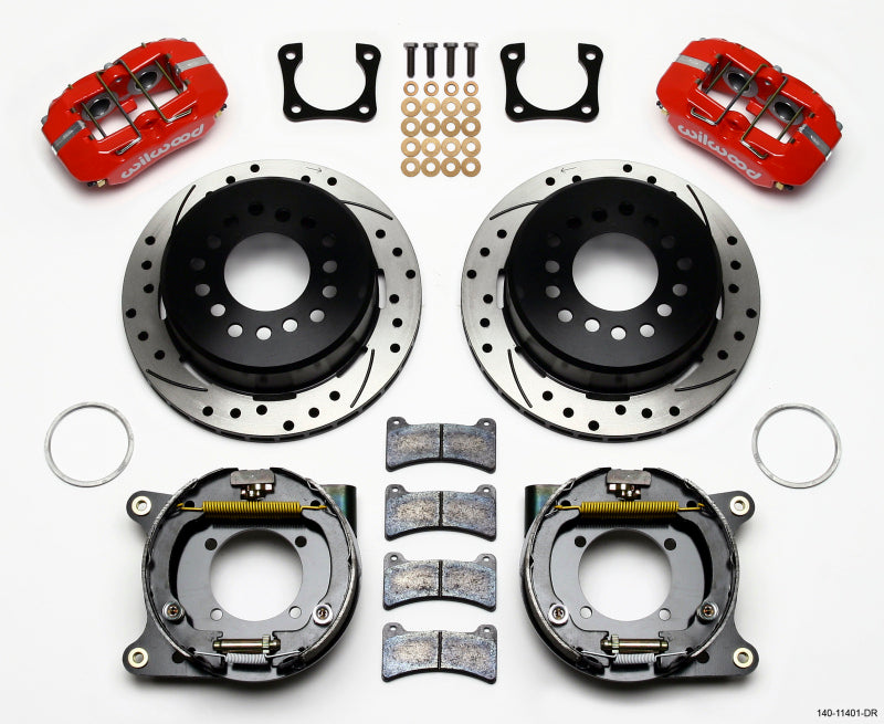 Wilwood Dynapro Low-Profile 11.00in P-Brake Kit Drill-Red Chevy 12 Bolt Spcl 2.81in Offset