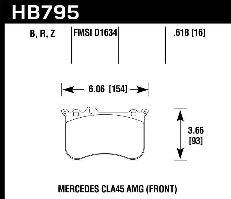 Hawk 14-17 Mercedes-Benz CLA 45 AMG Performance Ceramic Street Front Brake Pads