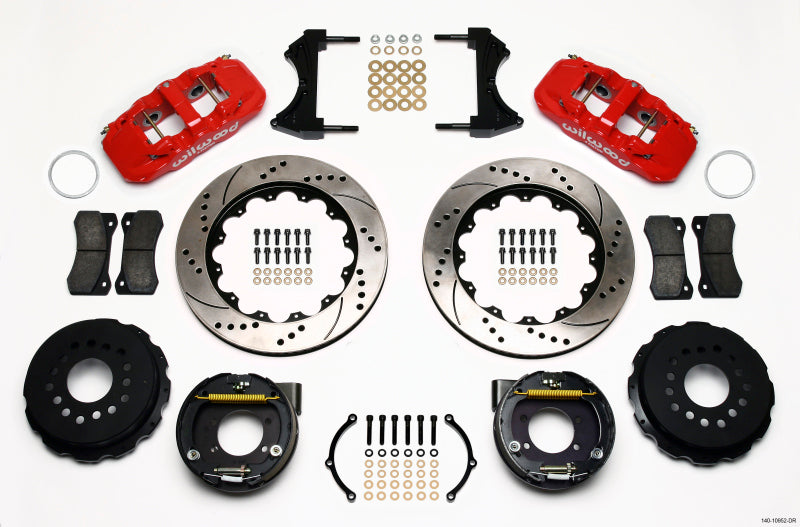 Wilwood AERO4 Rear P-Brake Kit 14.00in Drill Red Ford 8.8 w/2.5in Offset-5 Lug
