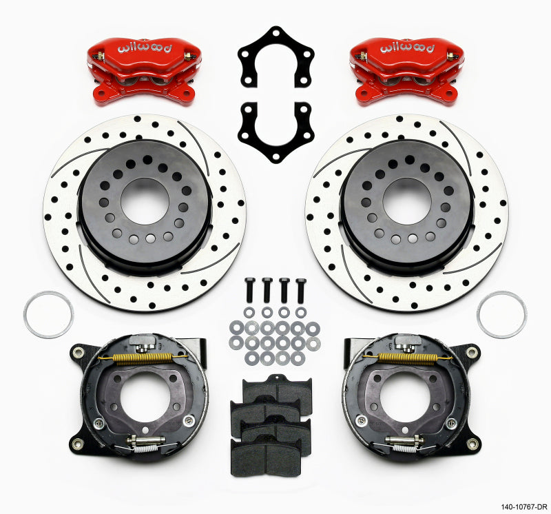 Wilwood Forged Dynalite P/S Park Brake Kit Drilled Red Mopar/Dana 2.50in Off w/Snap Ring Brng
