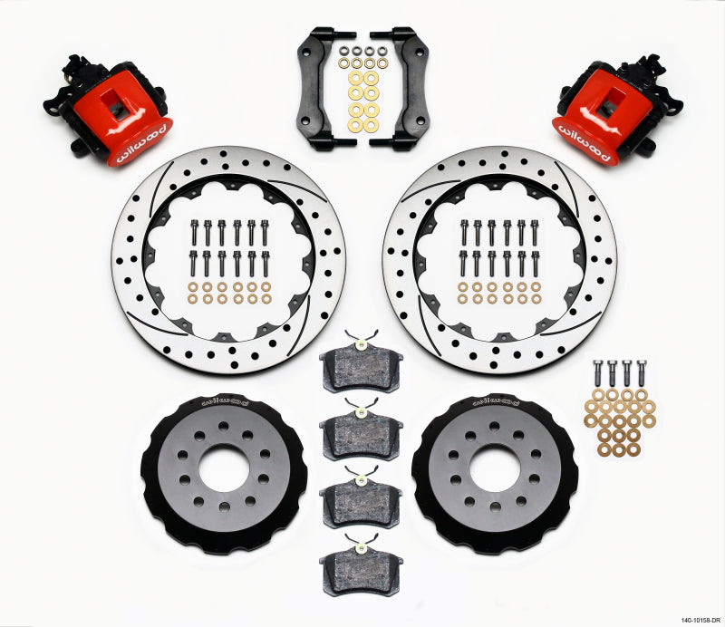 Wilwood Combination Parking Brake Rear Kit 12.88in Drilled Red Mustang 94-04