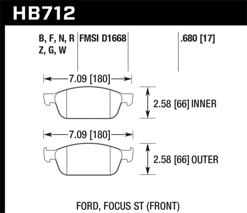 Hawk 13 Ford Focus DTC-60 Front Race Brake Pads