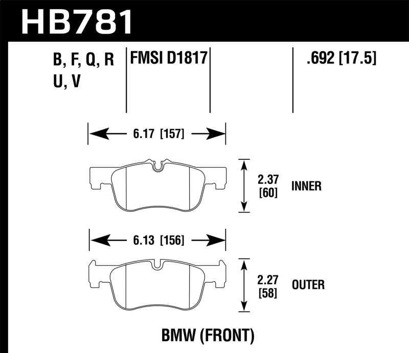 Hawk 12-15 BMW 118i DTC-70 Race Front Brake Pads