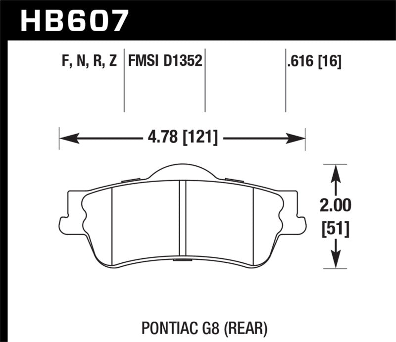 Hawk 08-09 Pontiac G8 3.6 Base/6.0 HP+ Street Rear Brake Pads