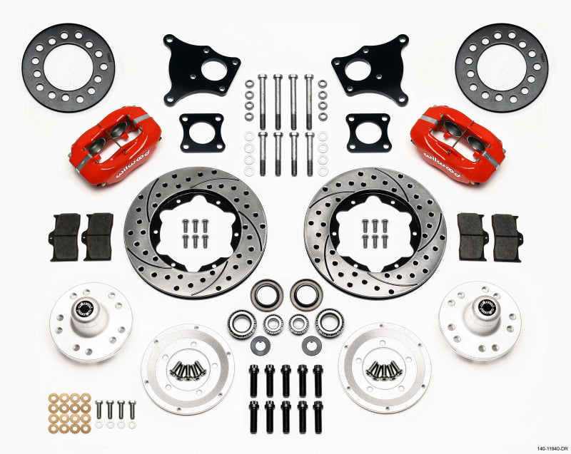 Wilwood Forged Dynalite Front Kit 11.00in Drill-Red AMC 71-76 OE Disc w/o Bendix Brakes