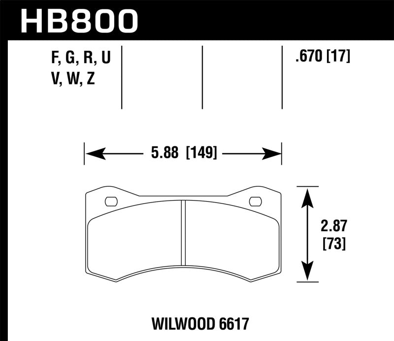 Hawk Wilwood 17mm 6617 Caliper Performance Ceramic Brake Pads