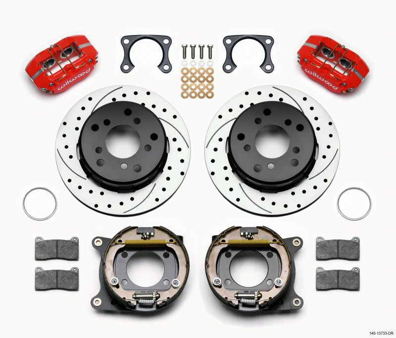 Wilwood Dynapro Lug Mount P/S Park Brake Kit Drilled Red Big Ford 2.00in Off Bronco 5 x 5.50
