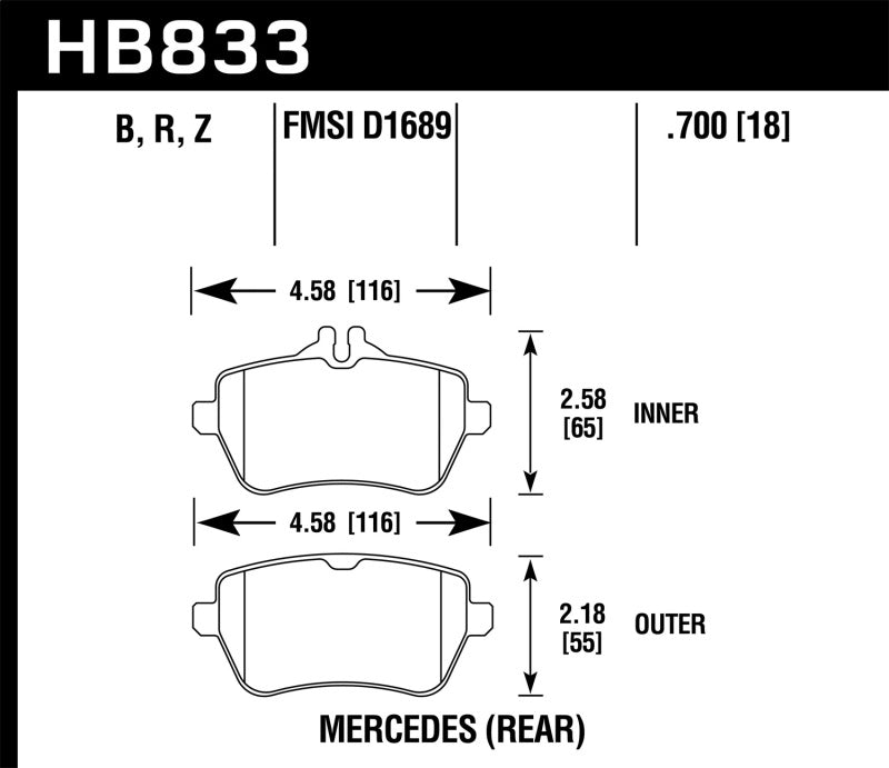 Hawk 13-17 Mercedes-Benz SL550 Performance Ceramic Street Rear Brake Pads