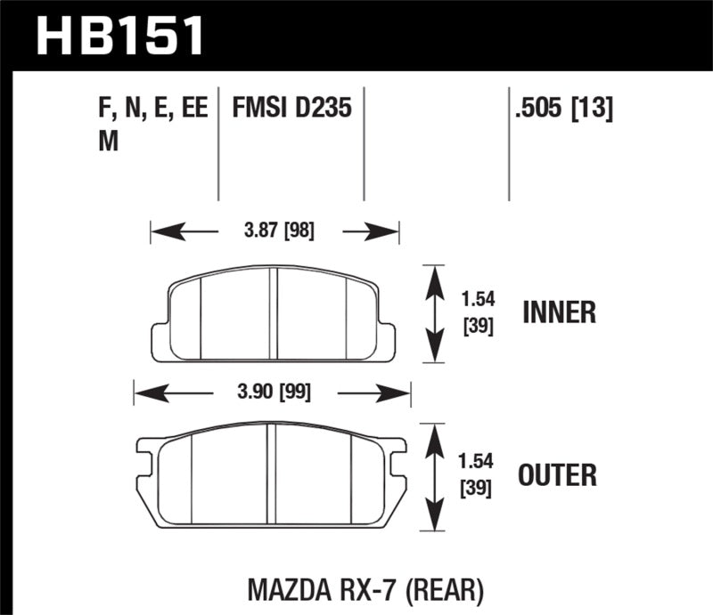 Hawk Mazda RX-7 Black Race Rear Brake Pads