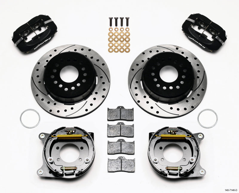 Wilwood Forged Dynalite P/S Park Brake Kit Drilled Ford 8.8 w/2.5in Offset-5 Lug