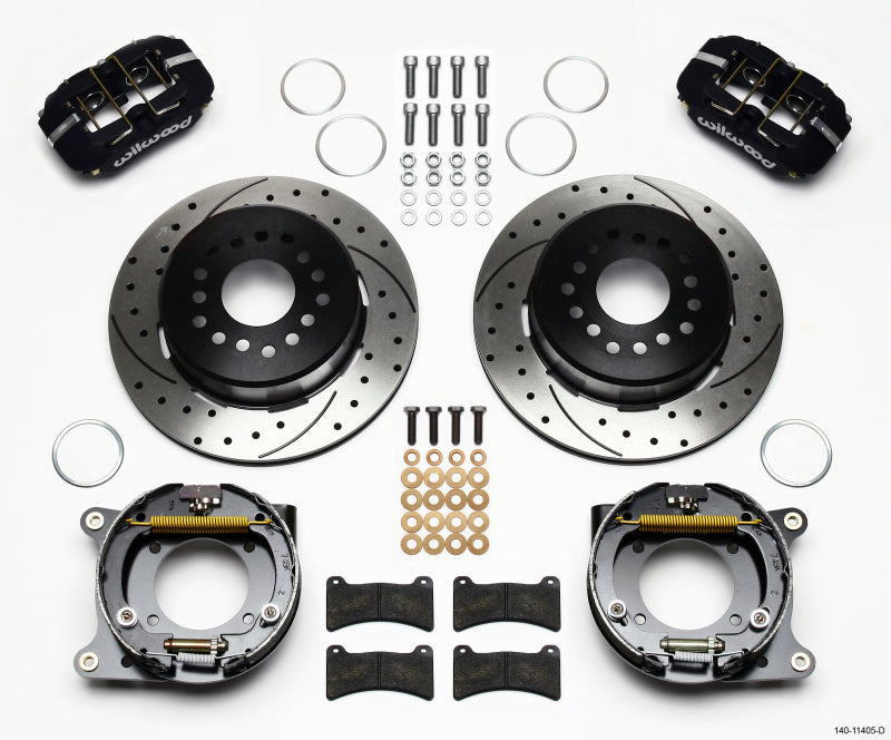 Wilwood Dynapro Low-Profile 11.00in P-Brake Kit Drilled 55-57 Chevy 2.34in Offset