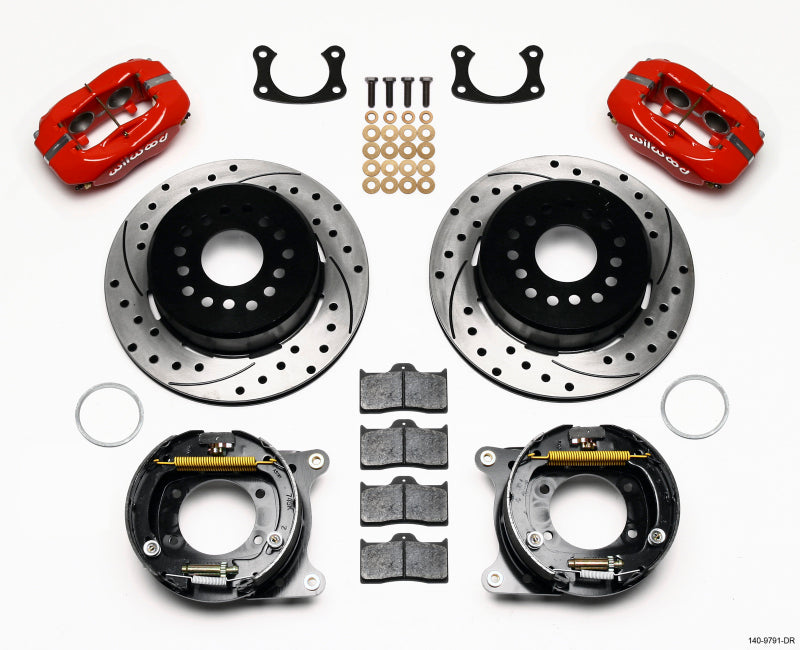 Wilwood Forged Dynalite P/S Park Brake Kit Drill Red New Big Ford 2.50in Offset Front Caliper Mount