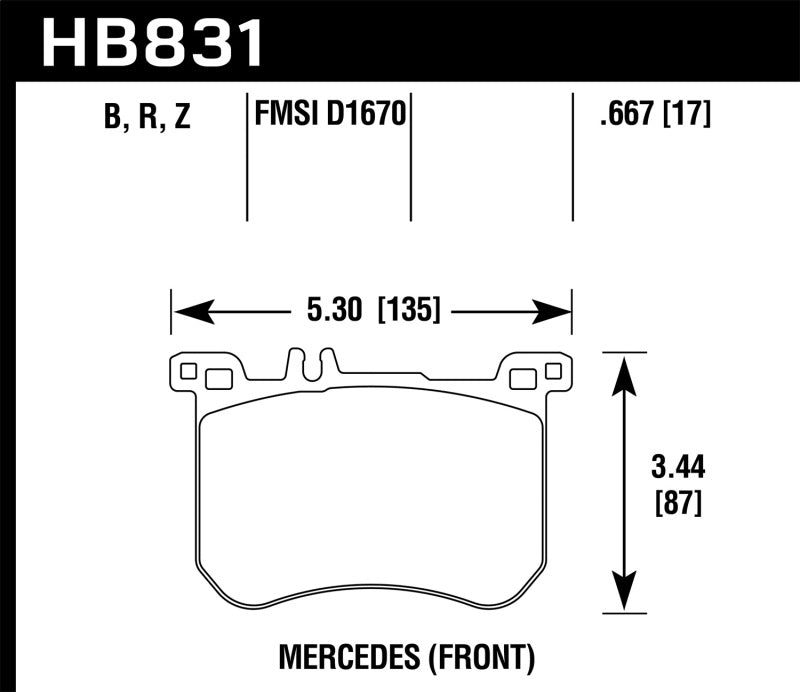 Hawk 13-17 Mercedes-Benz SL550 HPS 5.0 Front Brake Pads