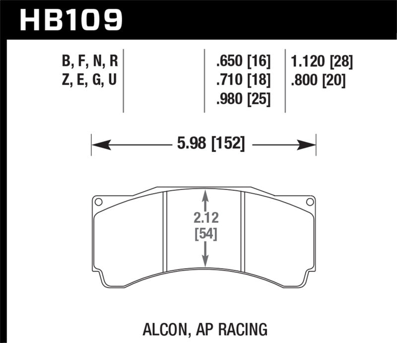 Hawk Alcon TA-6 / AP Racing CP5060-2/3/4/5ST / AP Racing CP5555 HPS 5.0 Street Brake Pads