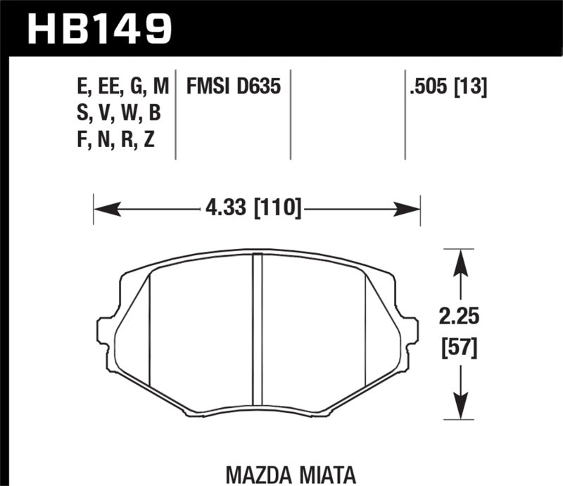 Hawk 94-05 Miata (01-05 Normal Suspension) Blue 9012  Race Front Brake Pads D635