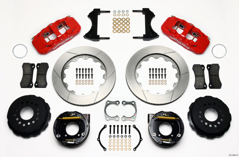 Wilwood AERO4 Rear P-Brake Kit 14.00in Red Chevy 12 Bolt w/ C-Clips