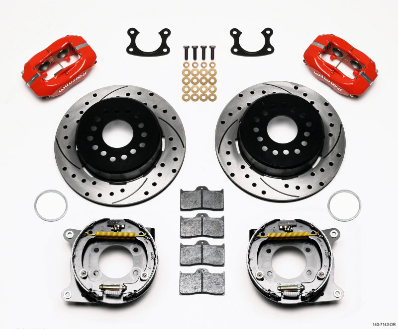 Wilwood Forged Dynalite P/S Park Brake Kit Drilled Red Small Ford 2.66in Offset