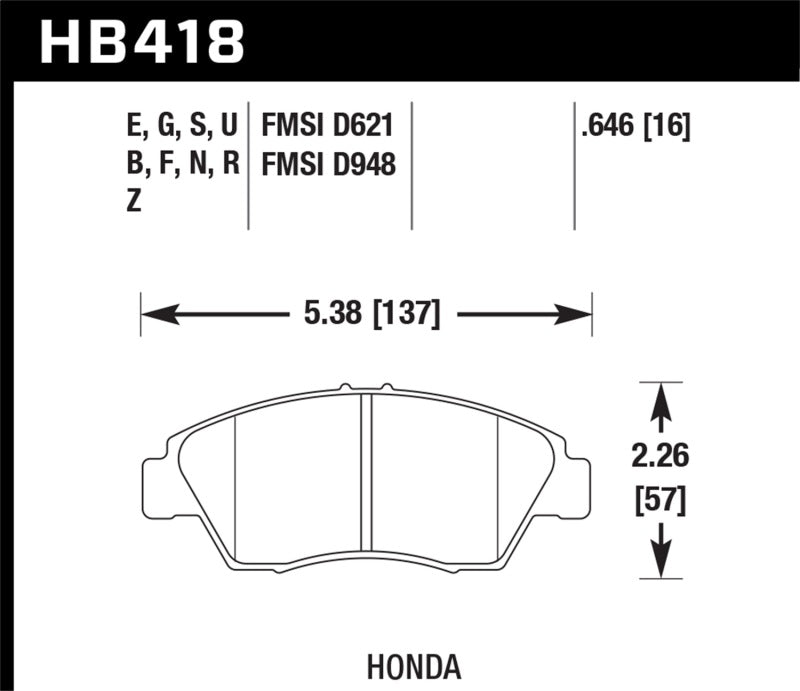 Hawk 02-06 RSX (non-S) Front / 03-11 Civic Hybrid / 04-05 Civic Si HP DTC-60 Front Race Brake Pads