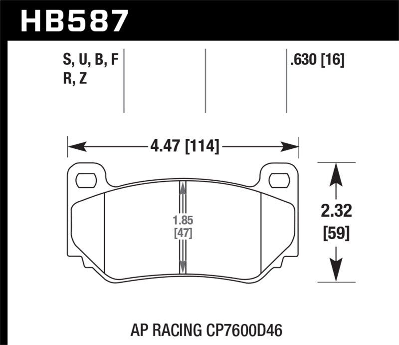 Hawk DTC-80 AP Racing 16mm Race Brake Pads