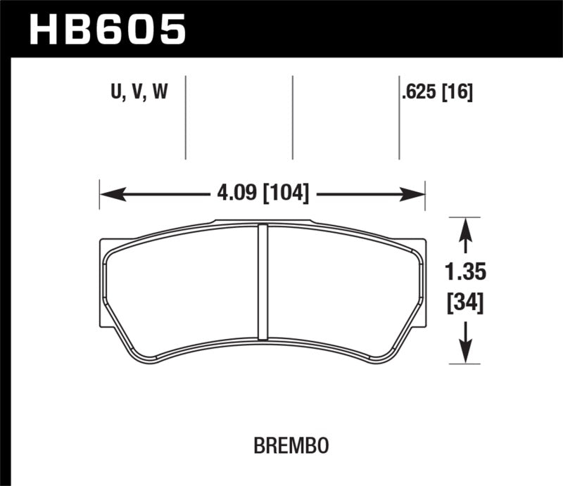 Hawk DTC-80 Brembo F3 16mm Race Brake Pads