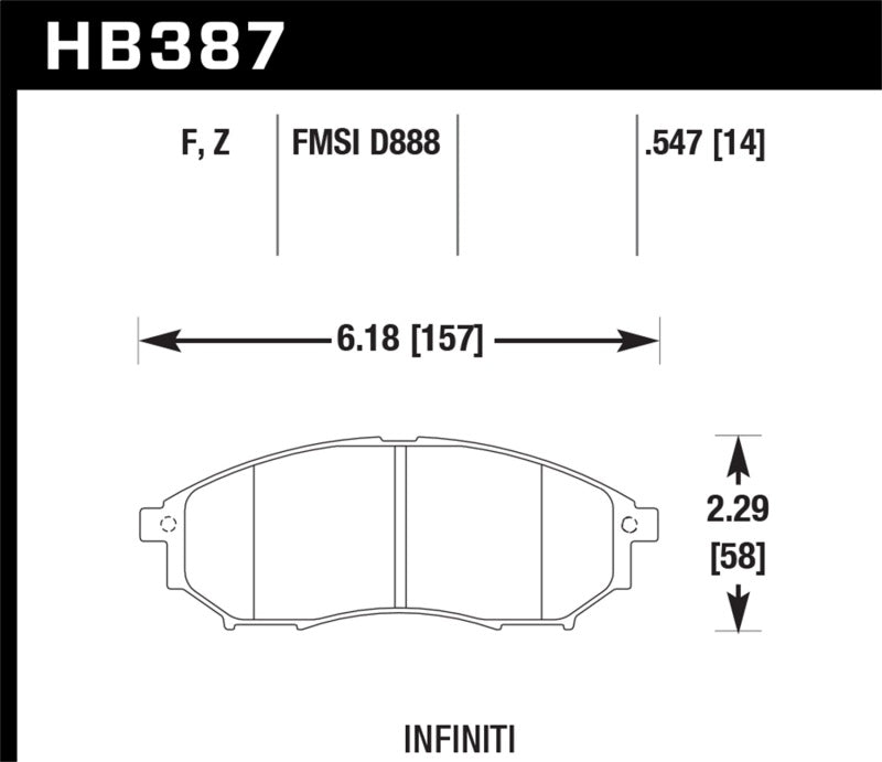 Hawk 06-09 350z/ 05-08 G35 w/o Brembo Performance Ceramic Street Front Brake Pads