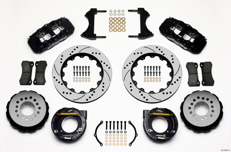 Wilwood AERO4 Rear P-Brake Kit 14.00in Drilled Chevy C-10 2.42 Offset 5-lug
