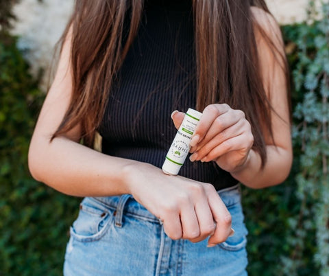 Thryv Organics' CBD Salve Stick is a discrete and unscented way to help with PMS symptoms for on-the-go relief.